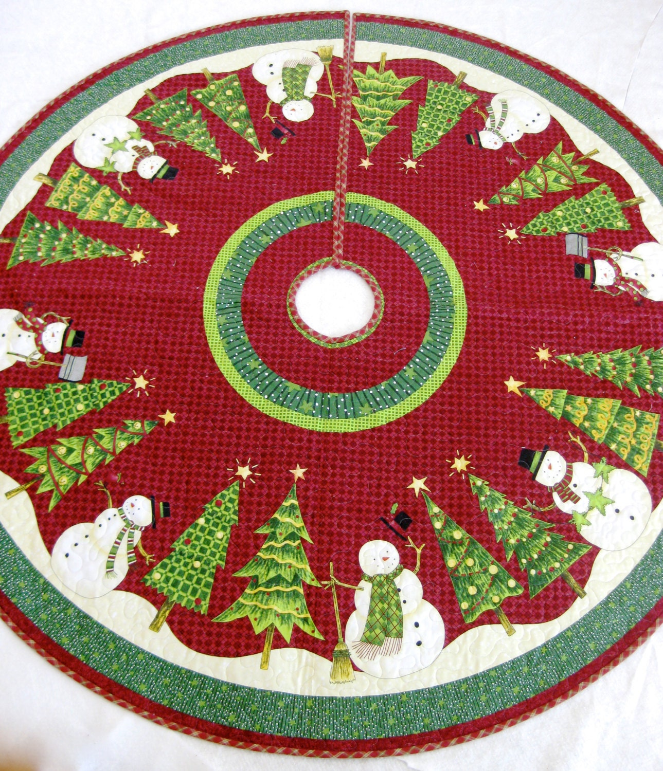 Christmas Tree Skirt Whimsical Quilted Snowman Ready To Ship