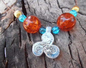 Northern Triskelion With  Recon Amber Beads