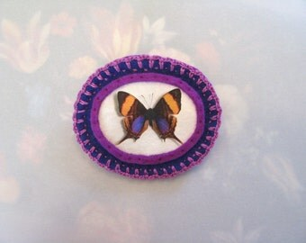 brooch with purple butterfly - natural history brooch - butterfly print brooch - purple felt brooch - gift for her