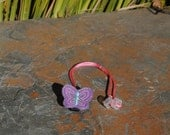 Piper the Purple Butterfly - Hearing Aid Cord or Cochlear Implant Cord