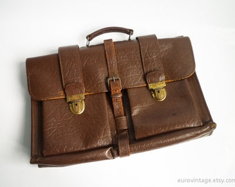 Vintage Leather Briefcase Bag Dark Brown 70s