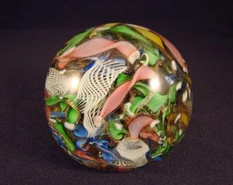 Stunning Vintage Venetian Scramble Glass Paperweight Mint Condition