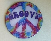 Groovy  Recycled CD Magnet Art