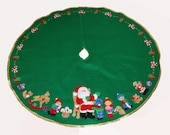 """43"""" Finished Handcrafted Bucilla Tree Skirt - A Visit With Santa"""