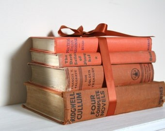 Vintage Book Stack in Shades of Orange and Rust