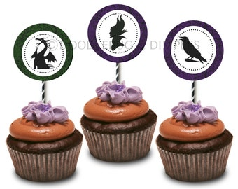 Maleficent Printable Cupcake Topper Tags-INSTANT DOWNLOAD