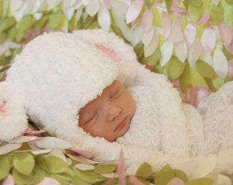 Little Lamb Earflap Beanie Hat Newborn - Adult Boy or Girl Great Photo Prop Great Deal