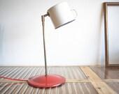 Table Lamp, Upcycled lamp, Steampunk lamp, White Red lamp, Desk lamp, Enamel lamp, Vintage lighting, On sale lamp, Steampunk lighting
