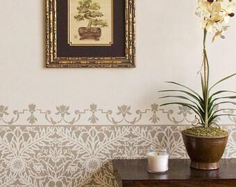 Petite Mughal Moroccan Border Stencil Furniture and Craft Stencil for DIY Decor