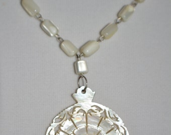 Beautiful Limited Edition Recycled White Cat Eye Mother of Pearl Easter Spring NOLA Mothers Day Fashion Shell Necklace