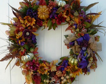 Large RUSTIC FALL WREATH-Barn Wedding-Pumpkin Wreath-Fall Wreath-Fireplace Wreath-Large Fall Wreath-Ranch Wreath-Thanksgiving