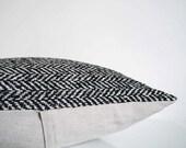 Herringbone pillow in luxury Italian wool, black and white herringbone weave, modern pillow cover