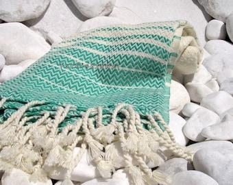 Turkishtowel-2014 Summer Collection-Hand woven,20/2 cotton warp and weft,Zigzag,Turkish Bath,Beach Towel-Natural cream and Green stripes