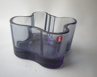 Smoke Glass Minimalist Modern iittala Dish Candle Holder or Votive Holder