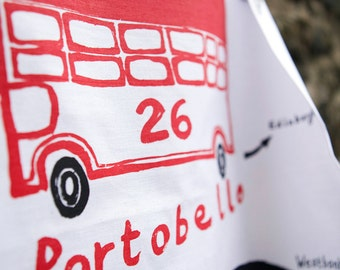 Portobello Tea Towel - Hand screenprinted Cotton teatowel of Morninside - East of Edinburgh
