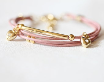 Mini Heart Charm and Ball Ornament Leather Bracelet(Indian Pink)
