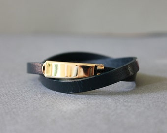 18k Gold Plated Closure Double Wrap Leather Bracelet(Dark Navy)