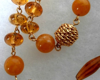 Amber and Gold Colored Bead Necklace