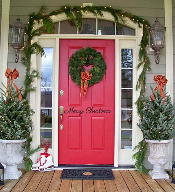 Merry Christmas Decorations Outdoor : Merry christmas door decal decor outdoor living by