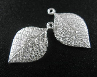 2 of 925 Sterling Silver Leaf Charms 13x20mm. :th1486