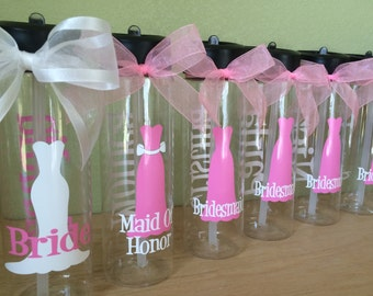 Quantity 6 Bridal party Personalized clear 24 oz water sport bottle, bridesmaid gift, dress design with name and title