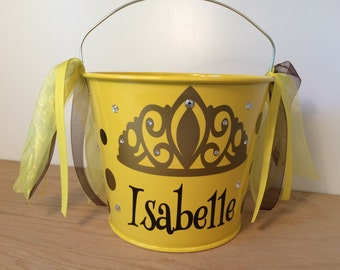 Beauty Princess Personalized halloween trick or treat metal bucket, 5 quart pail w/ Rhinestone Bling, yellow w/crown, gift basket, birthday