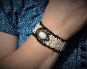 Cream and Black-edged Thread Crochet Bracelet With Faux Pearl Button