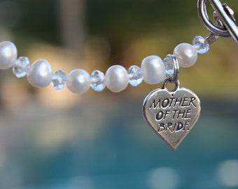 Mother of the Bride Keepsake Bracelet in White Pearls and Crystals with a Sterling Silver Charm