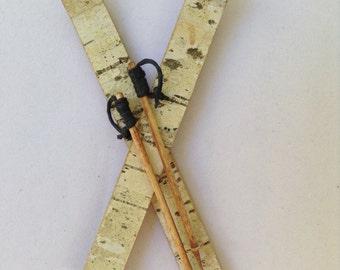 Ski Ornament, Birch Bark, Wood