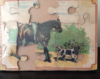 Vintage Jigsaw Puzzle with Horse and Dog