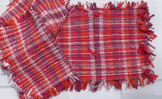 Handwoven Set of Placemats Pink, Orange, Purple; Free Shipping in US