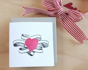 Valentine's Day, Mother's Day card Tattoo heart Mothers Day, Letterpress Card with tattoo style banner and pink heart. Made in Australia