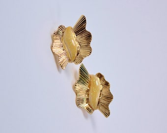 Vintage 1990 Signed Avon Glitter Ruffle Gold Tone Yellow Aurora Borealis Enamel Wavy Pleated Fan Flare Pierced Earrings in Original Box NIB