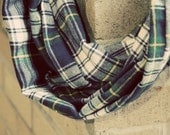 Navy Traditional Plaid Flannel Infinity Scarf
