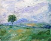 Thorn tree and Kadeen Mountain Ireland  -  Original Acrylic on canvas   .