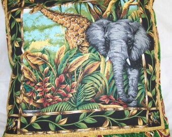Jungle Quillow, Elephant and Giraffe. A Quilt and Pillow all in one