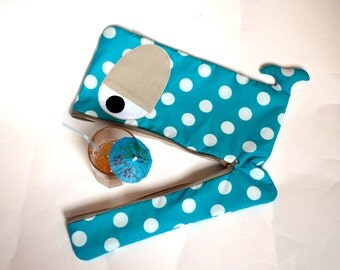 Aqua Whale laptop sleeve with large white polka dots, beige eyes and lining, 13 inch, 14 inch,15 inch, lightly padded -custom made