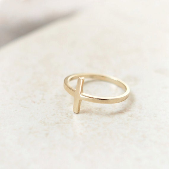 sideways cross ring in gold plated sterling silver by laonato