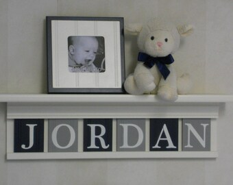 Navy and Grey Nursery Mantle Name Shelves - Personalised Baby White or Off White Shelf with Gray and Navy Blue Wall Letters