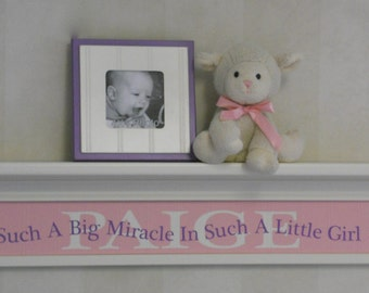 "Personalized Baby Gift Pink Purple Nursery 30"" Shelf with Custom Name - Saying - Such A Big Miracle In Such A Little Girl"