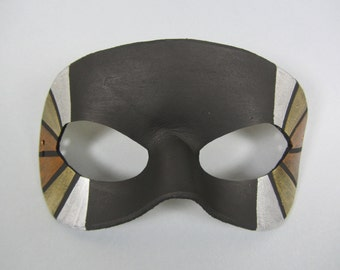 Silver, Bronze, and Gold Stained Glass Tiled Leather Masquerade Mask, Unisex
