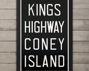 CONEY ISLAND New York City Subway Sign. Bus Scroll. 12 x 18 Rollsign Print