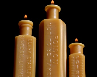 NEW Beeswax Candle Trio - Snake Oil & Two Poisons - Bottle Shaped. 1900's Mini - Md.
