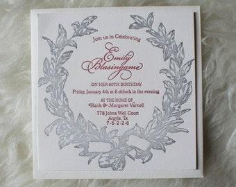 Letterpress Birthday Invitations