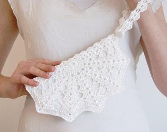 White Bridal Clutch Bag - Bridal White Crochet Purse - Wedding Bag - Bridal Lace Purse - Small White Handbag - White Formal Clutch Purse