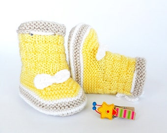 Knitted baby booties,  yellow baby booties, knitted baby boots, baby shoes, READY TO SHIP