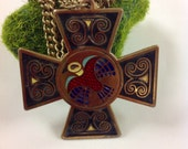 Celtic Cross Pendant Brass Necklace Vintage