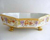 hand painted bowl, bon bon dish, decorative bowl, porcelain bowl, fruit design