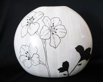 Hand painted vase,  bone china vase, painted bone china,