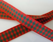 Red with Green Checkered Ribbon 3 Yards